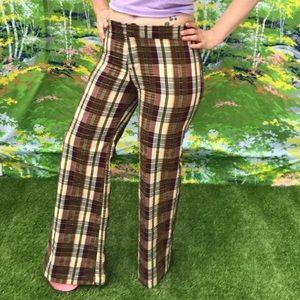 VINTAGE plaid bootcut pants